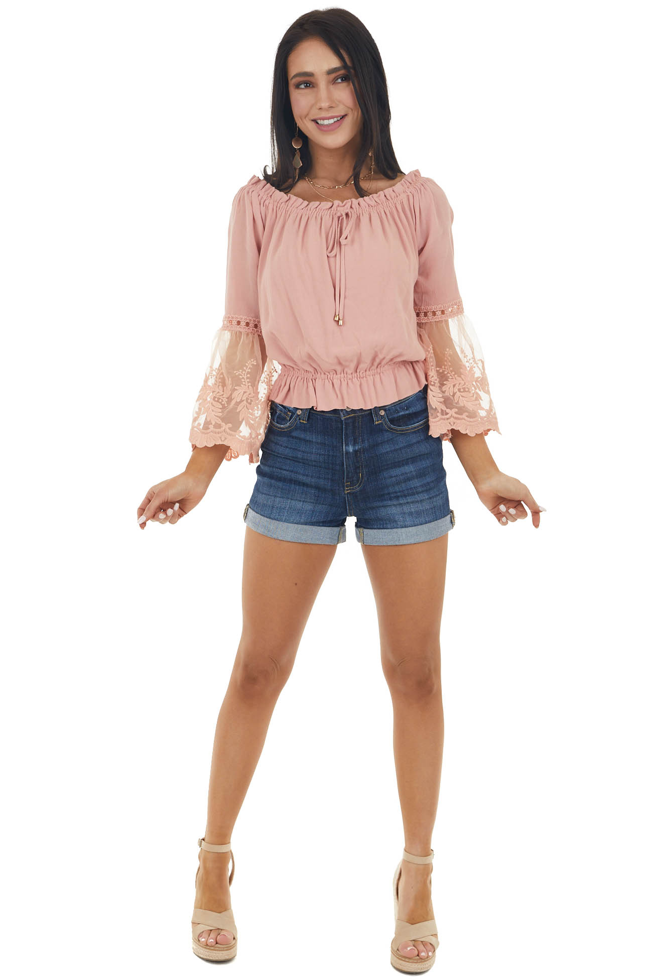 Light Punch Blouse with Long Mesh Lace Bell Sleeves