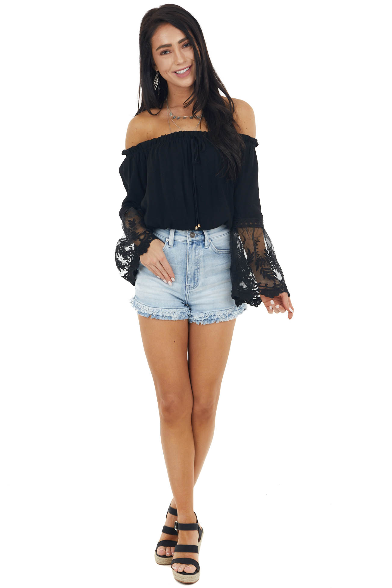 Black Blouse with Long Mesh Lace Bell Sleeves