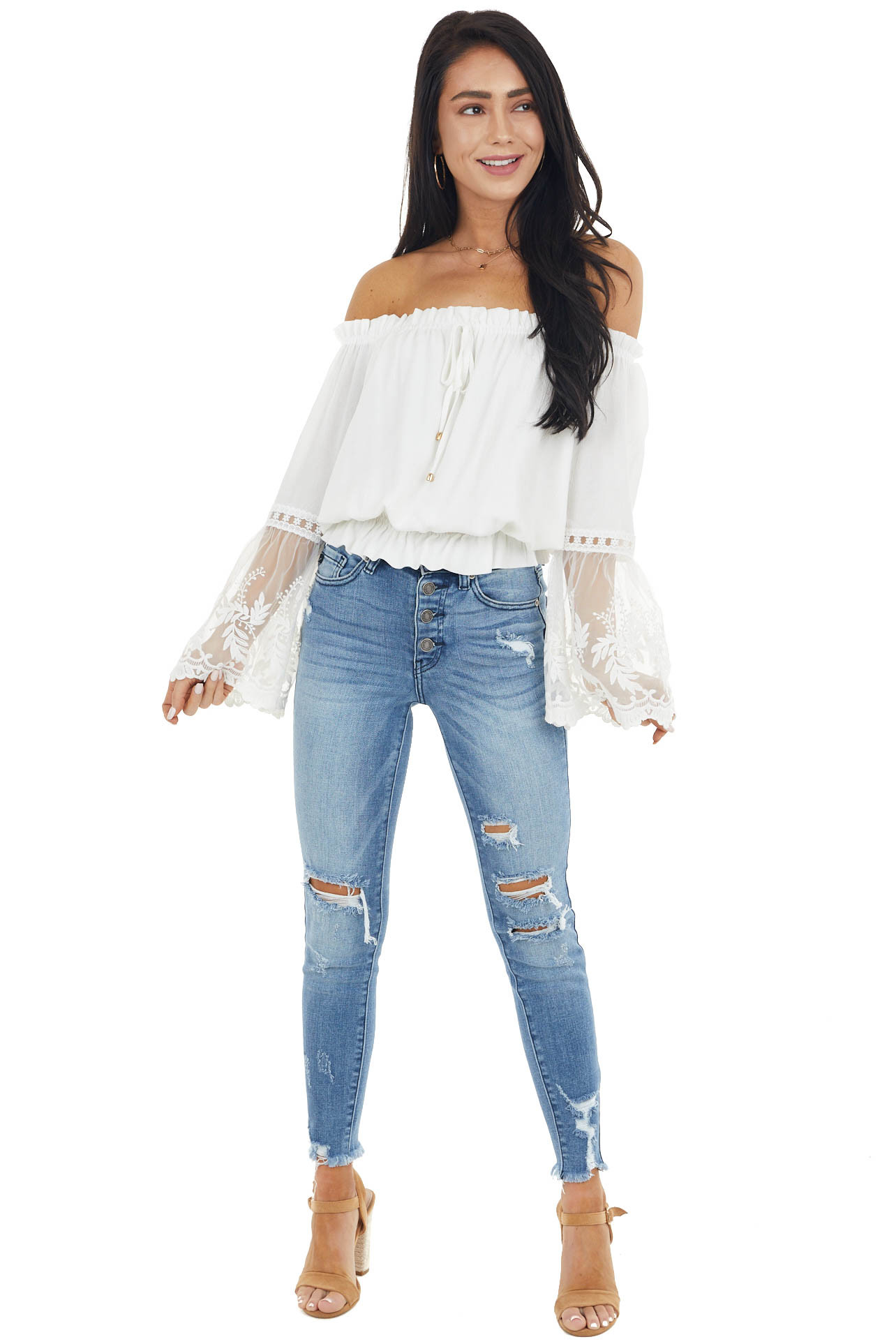 Off White Blouse with Long Mesh Lace Bell Sleeves