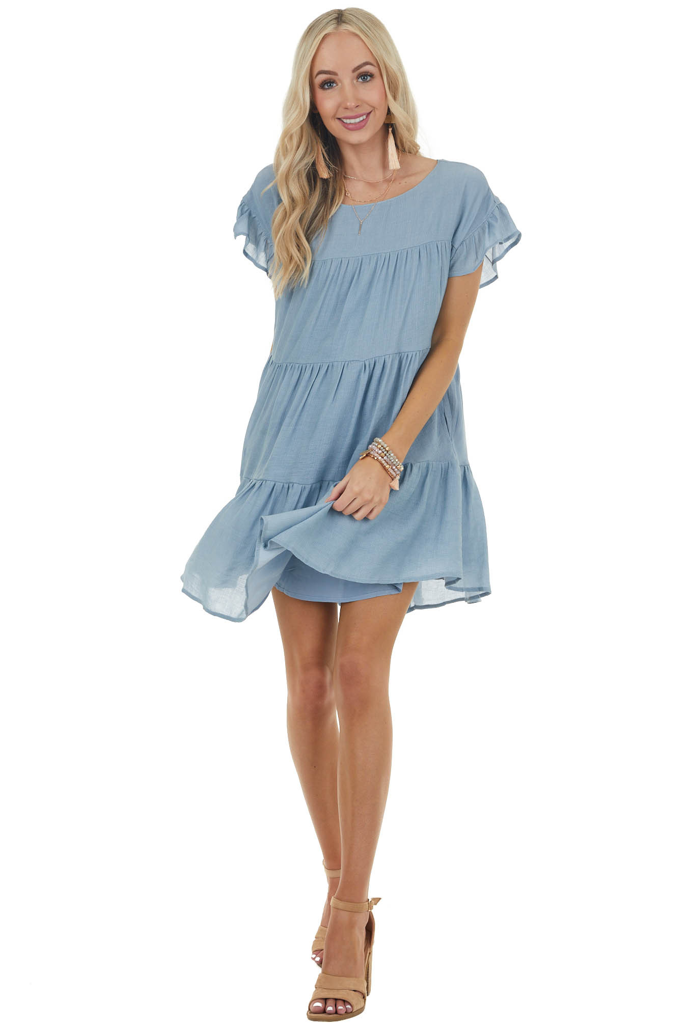 Powder Blue Tiered Babydoll Short Dress with Side Pockets