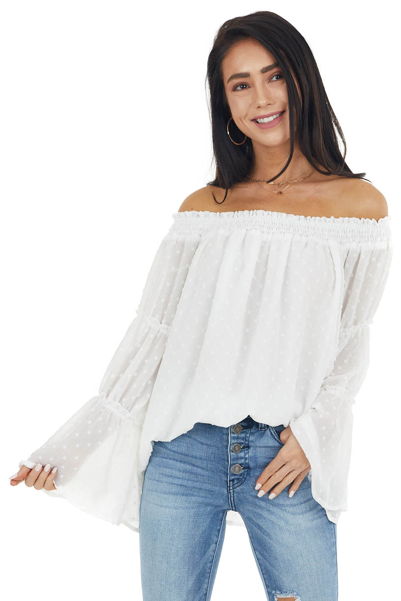 Ivory Swiss Dot Off The Shoulder Top with Bell Sleeves