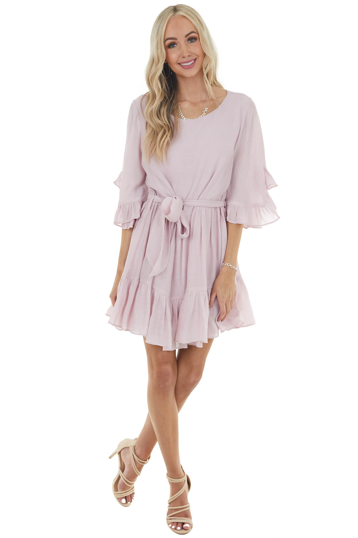 Dusty Blush Textured Woven Dress with Half Ruffle Sleeves
