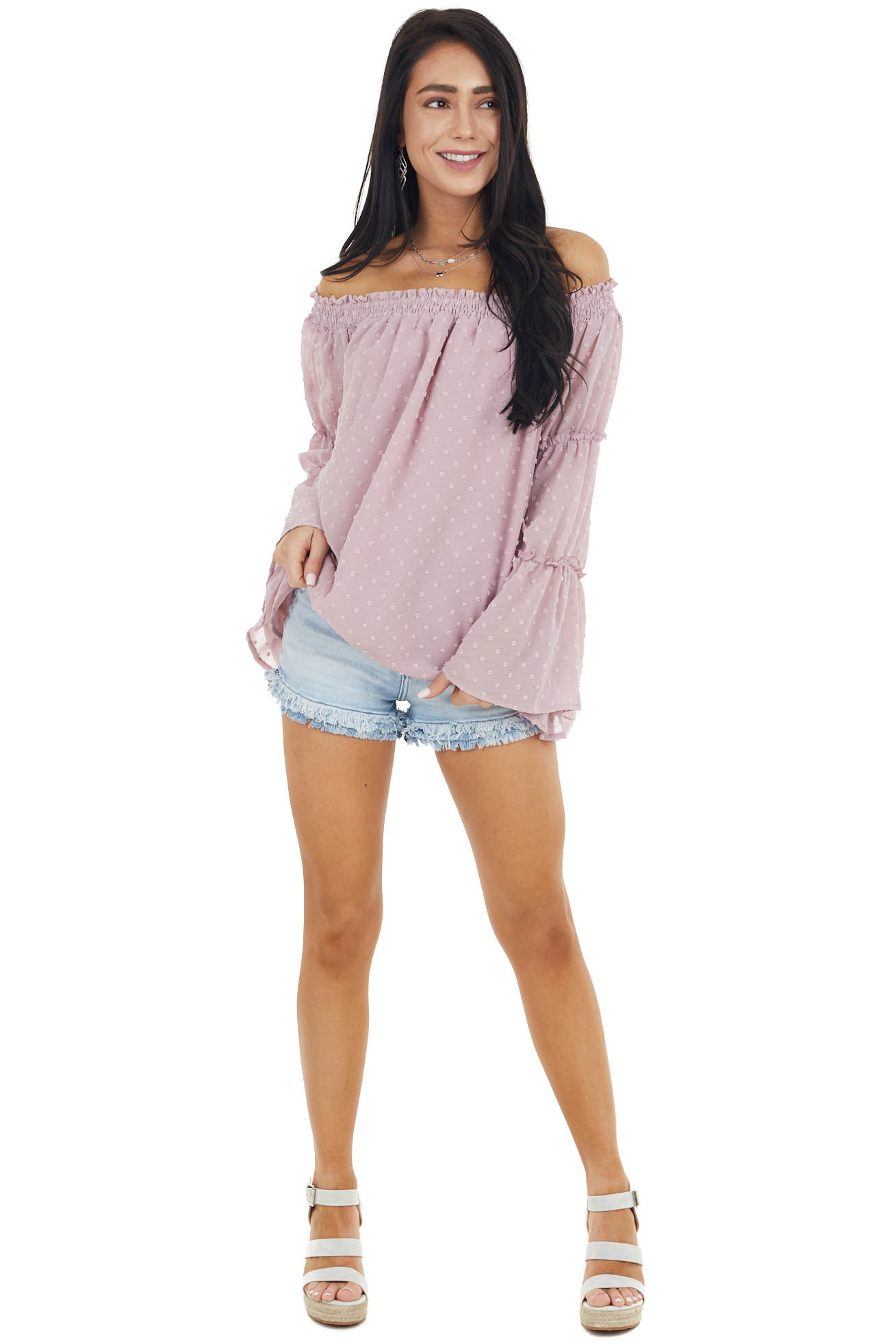 Dusty Rose Swiss Dot Off The Shoulder Top with Bell Sleeves