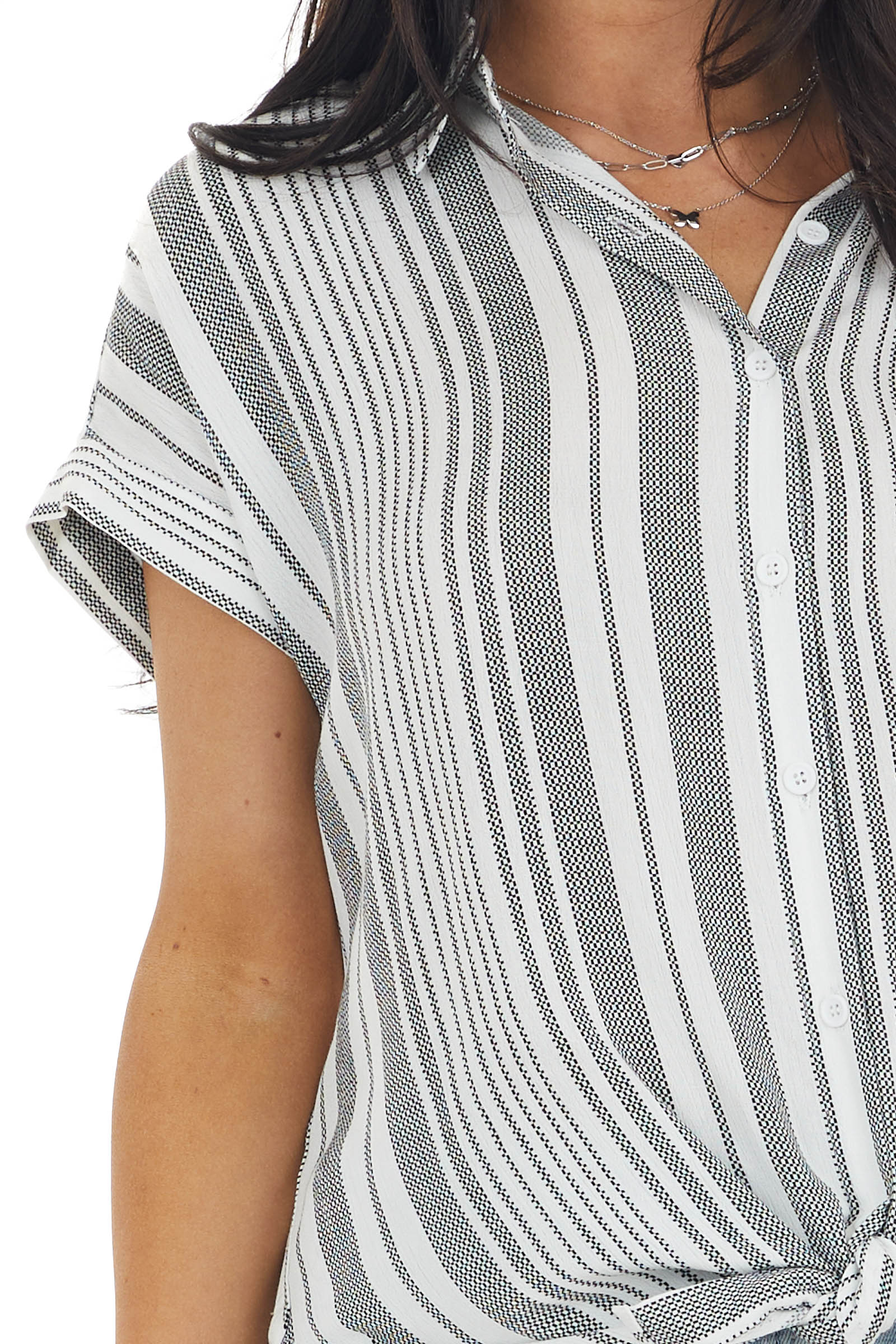 Off White and Black Striped Button Down Collared Shirt