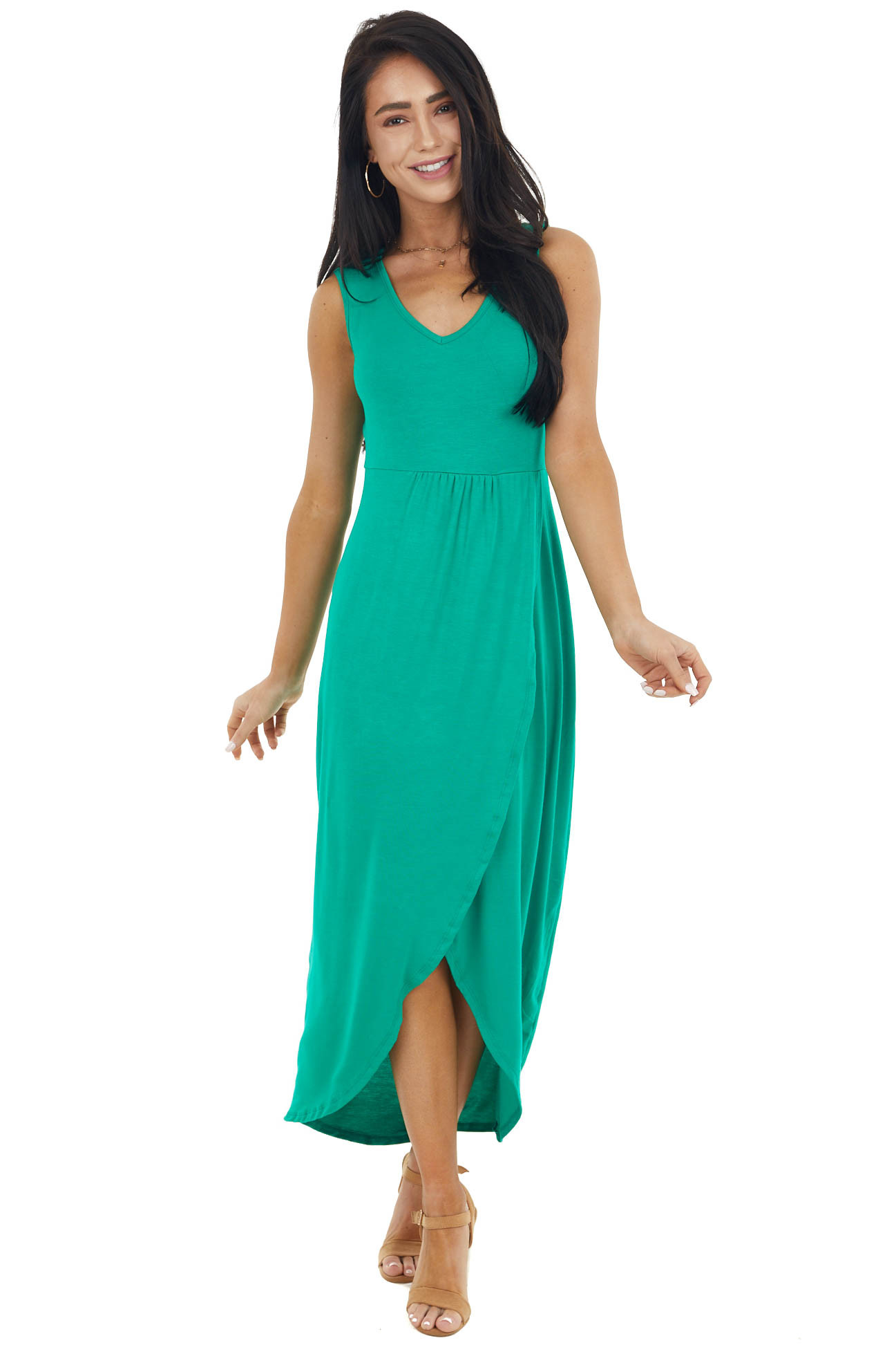 Shamrock Drop Waist Sleeveless Maxi Dress with Side Slit