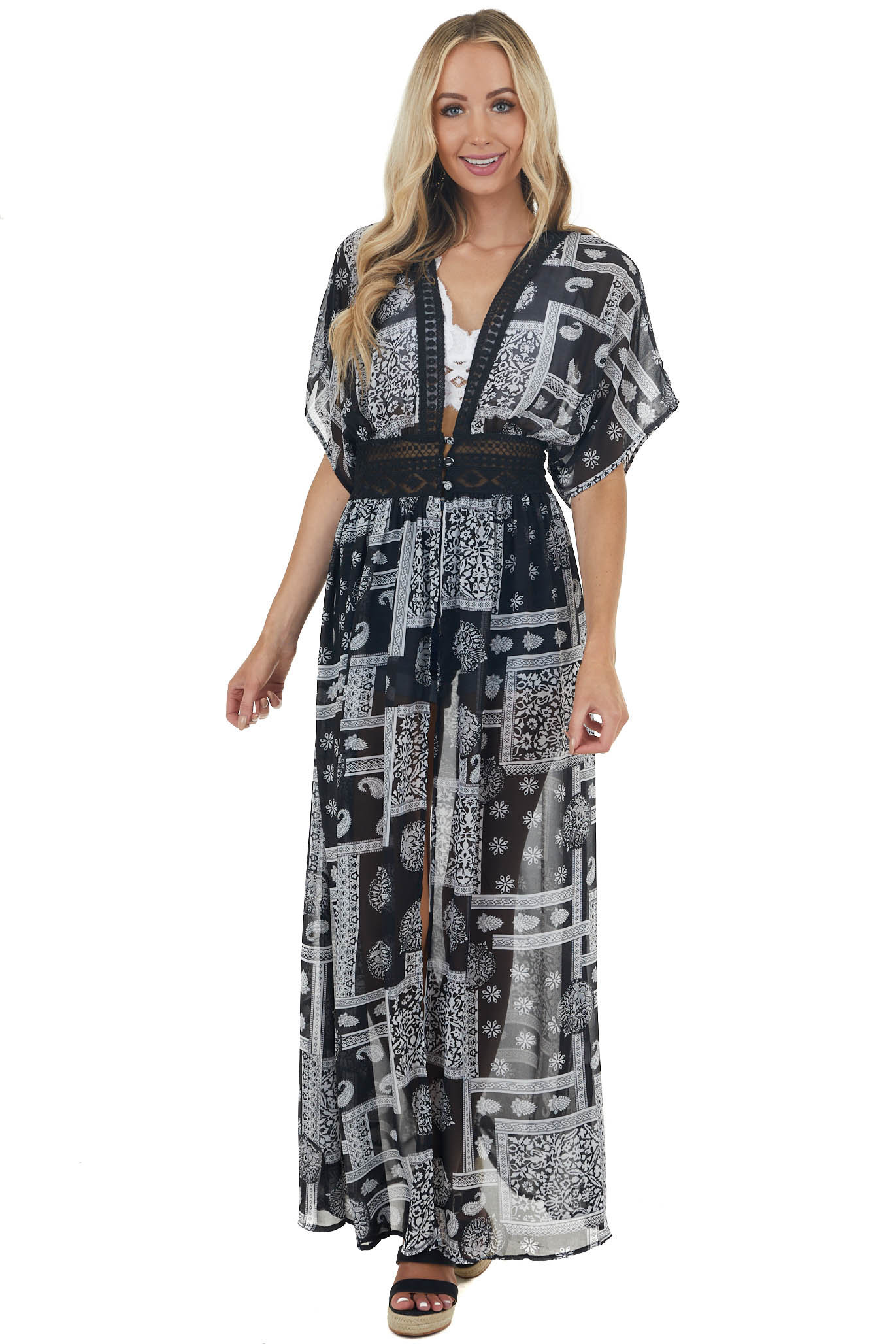 Black Printed Button Up Duster Kimono with Lace Details