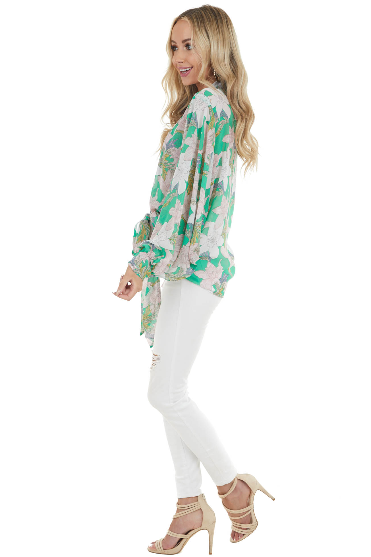 Jade Floral Print Sheer Front Tie Kimono with Dolman Sleeves