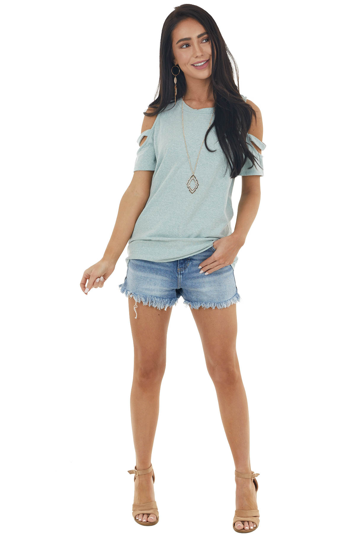 Faded Teal Short Sleeve Stretchy Knit Top with Cold Shoulder