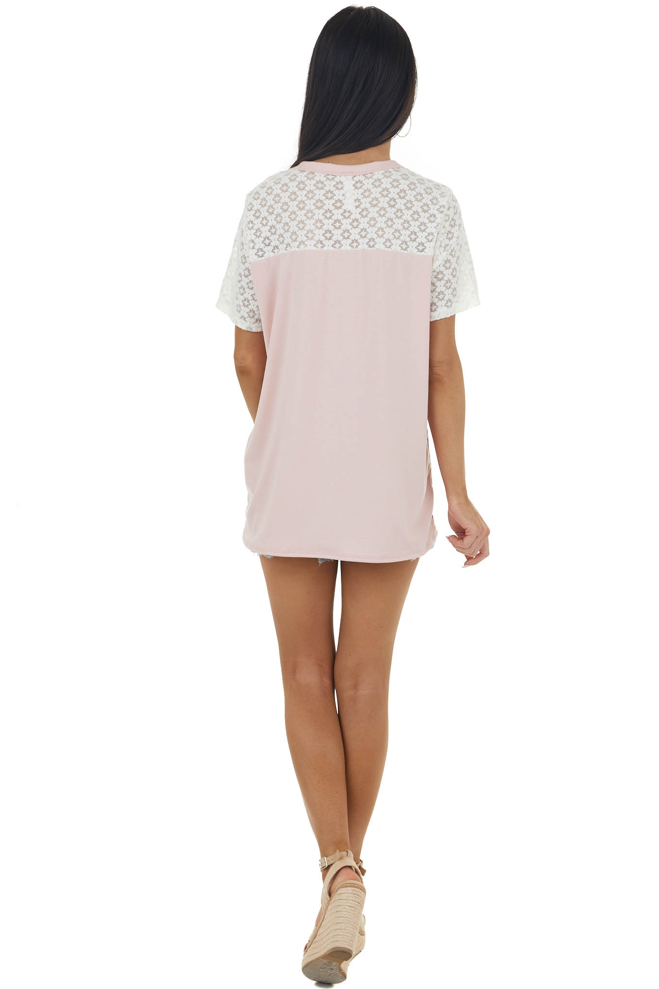 Baby Pink and Leopard Print Colorblock Top with Lace Details