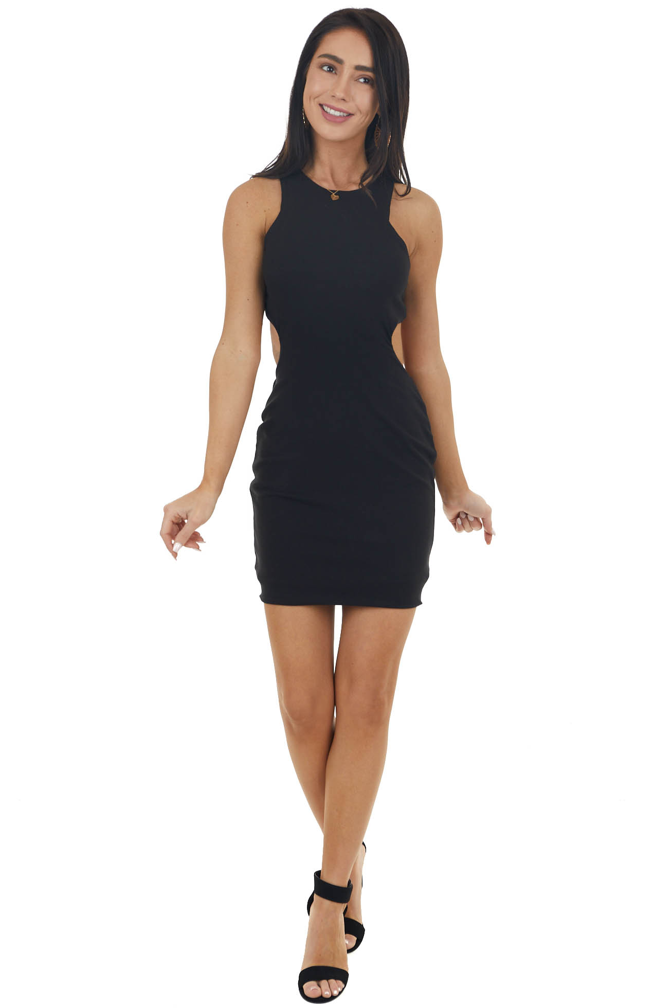 Black Ribbed Knit Open Back Short Dress with Side Cut Out