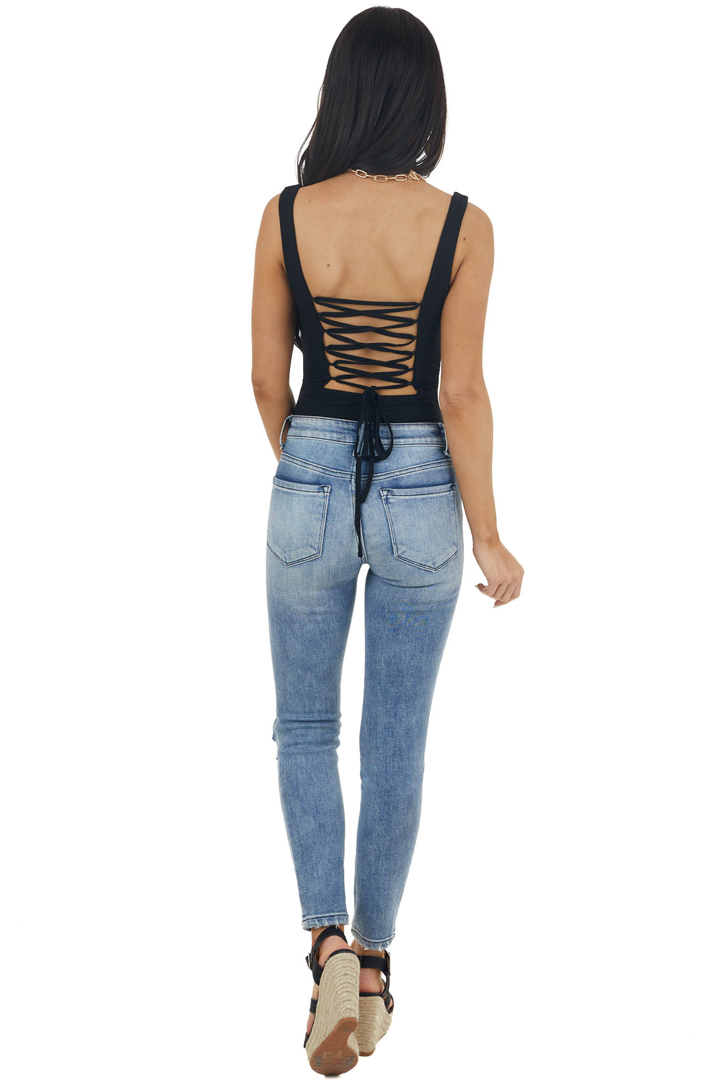 Black Lace Up Back Sleeveless Bodysuit with Square Neckline