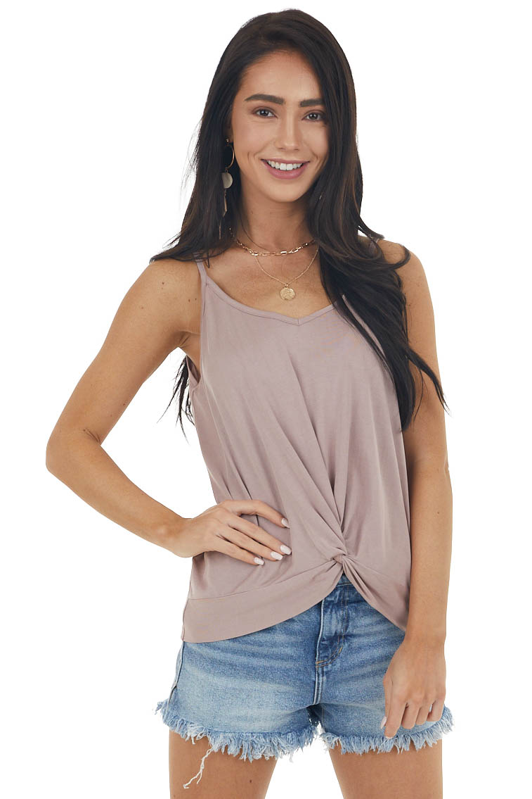 Dusty Rose Super Soft Knit V Neck Tank Top with Front Twist