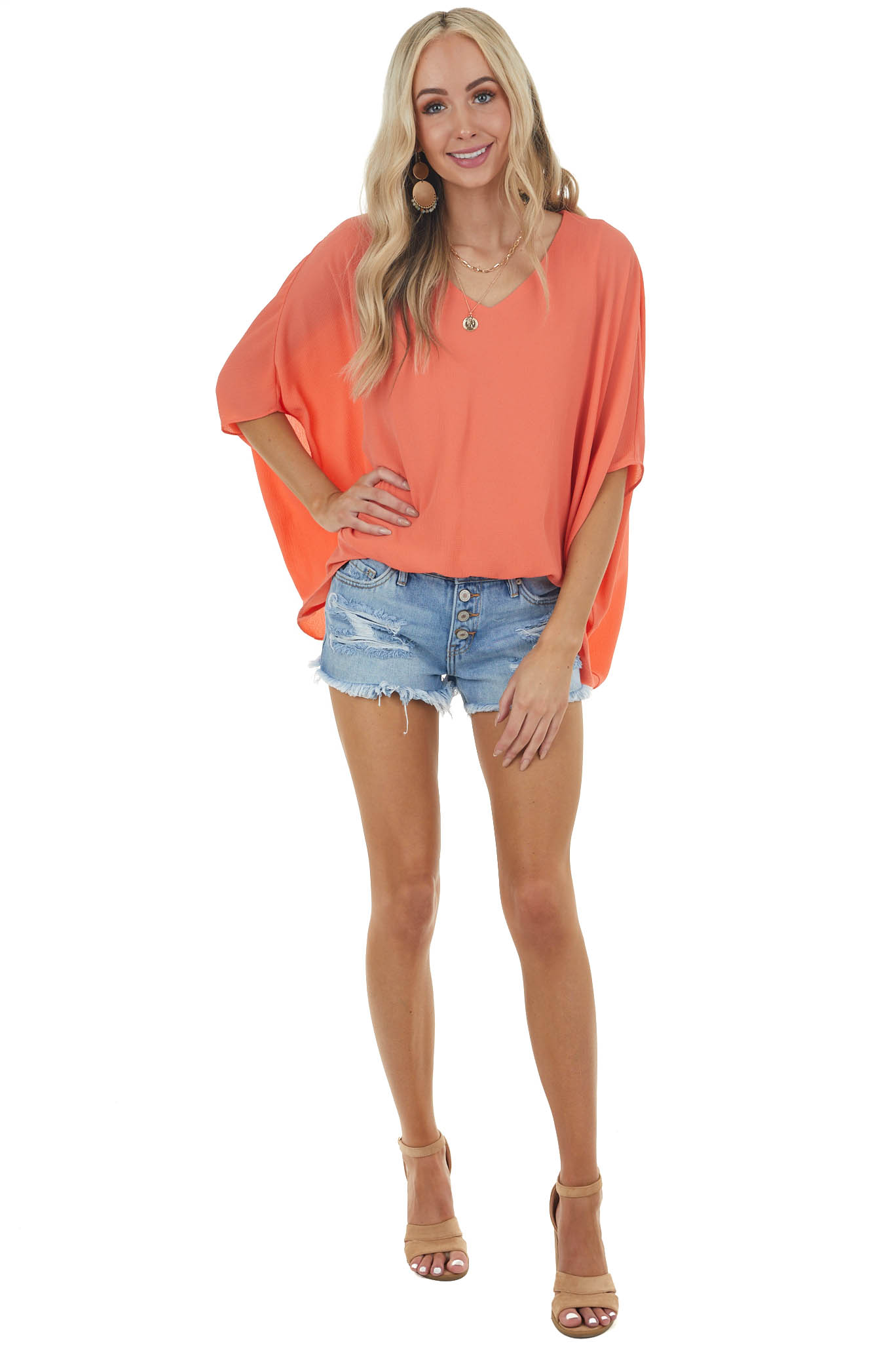 Coral V Neck Short Dolman Sleeve Blouse with Elastic Waist