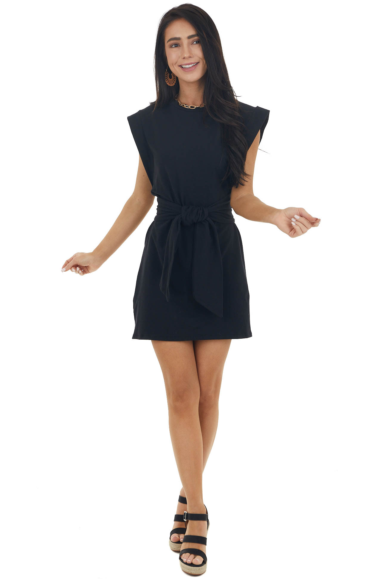 Black Cap Sleeves Short Dress with Front Tie Detail