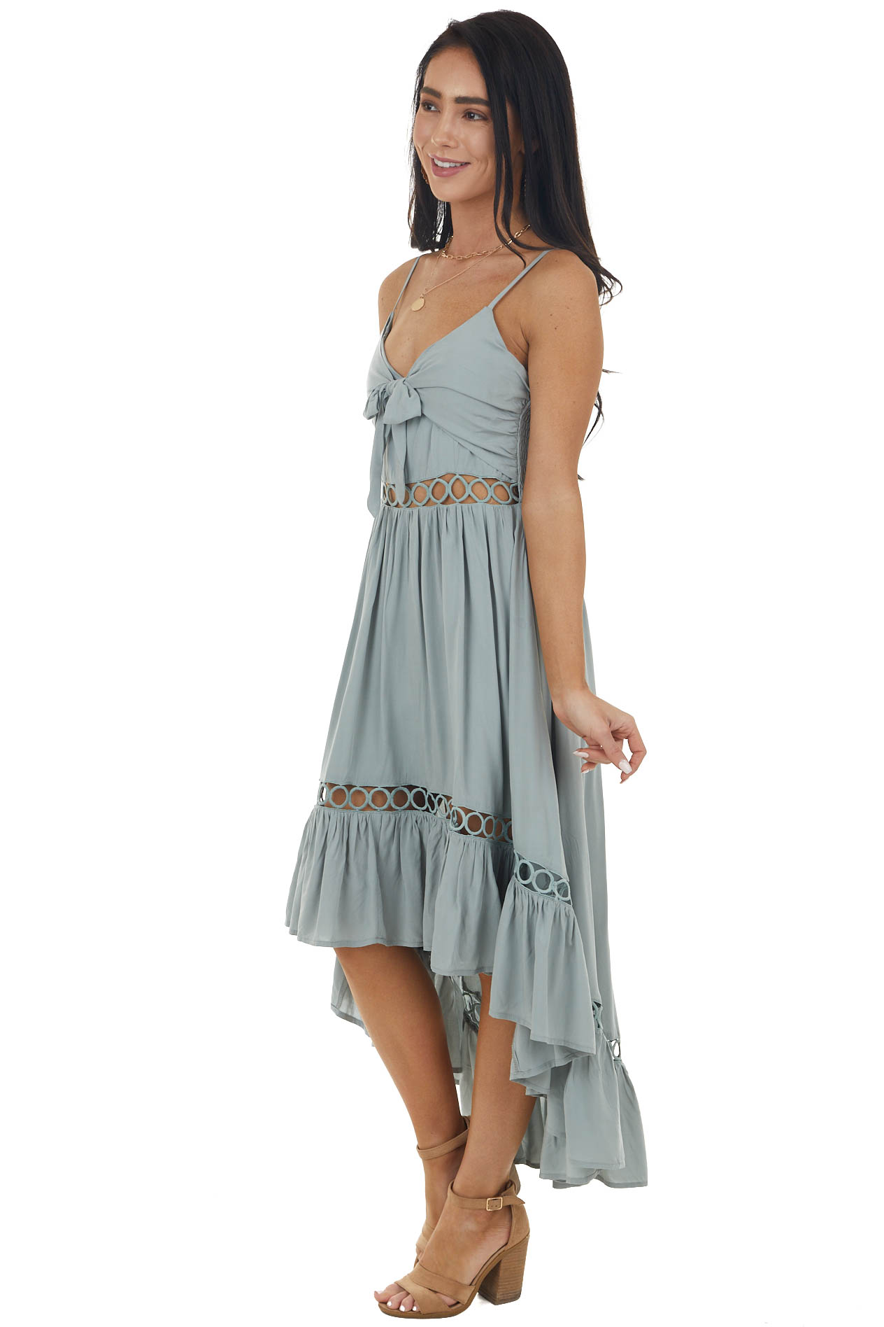 Dusty Sage Hi Low Ruffle Summer Dress with Front Tie