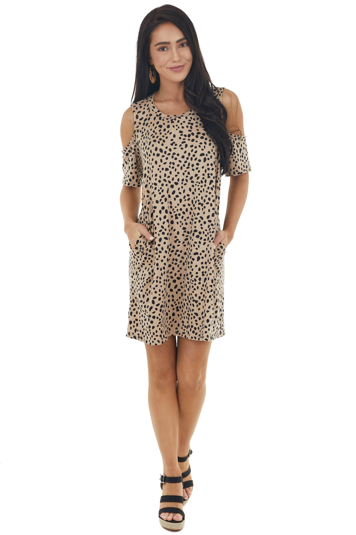 Rich Latte Cheetah Print Cold Shoulder Short Sleeve Dress