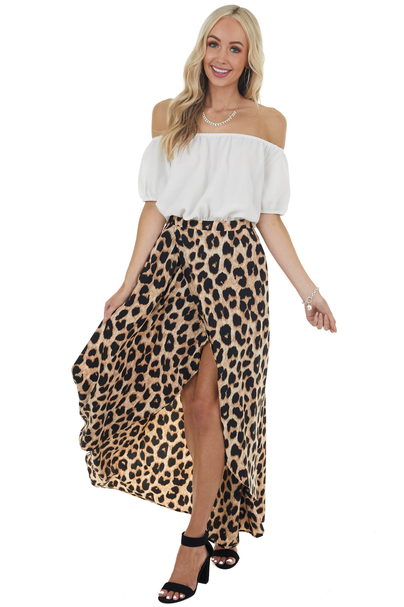 Ivory and Leopard Print Off Shoulder Maxi Dress with Slits
