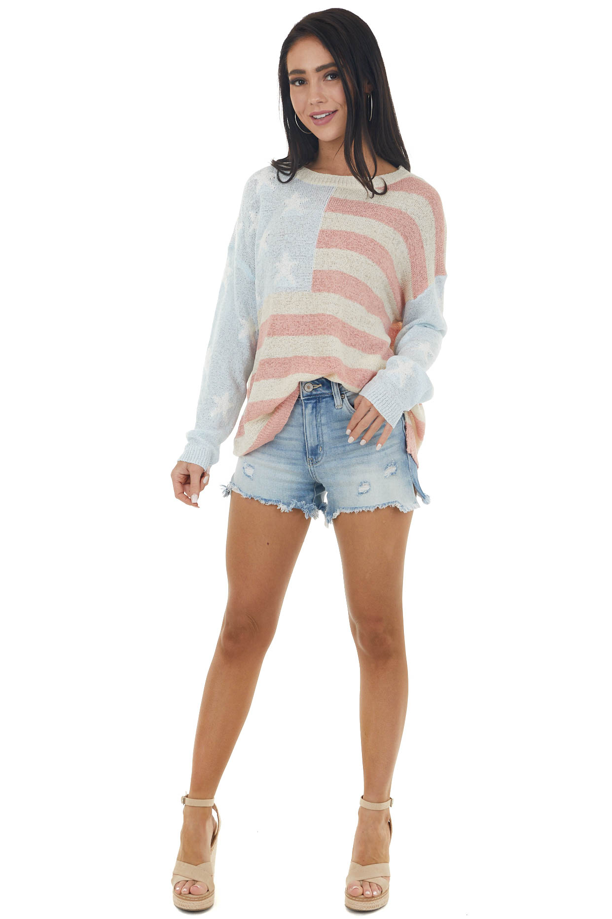 Pastel American Flag Print Oversized Loose Knit Sweater