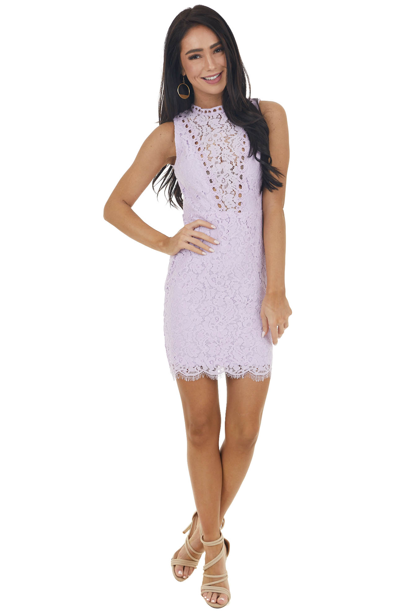 Light Iris Sleeveless Lace Dress with Sheer Details