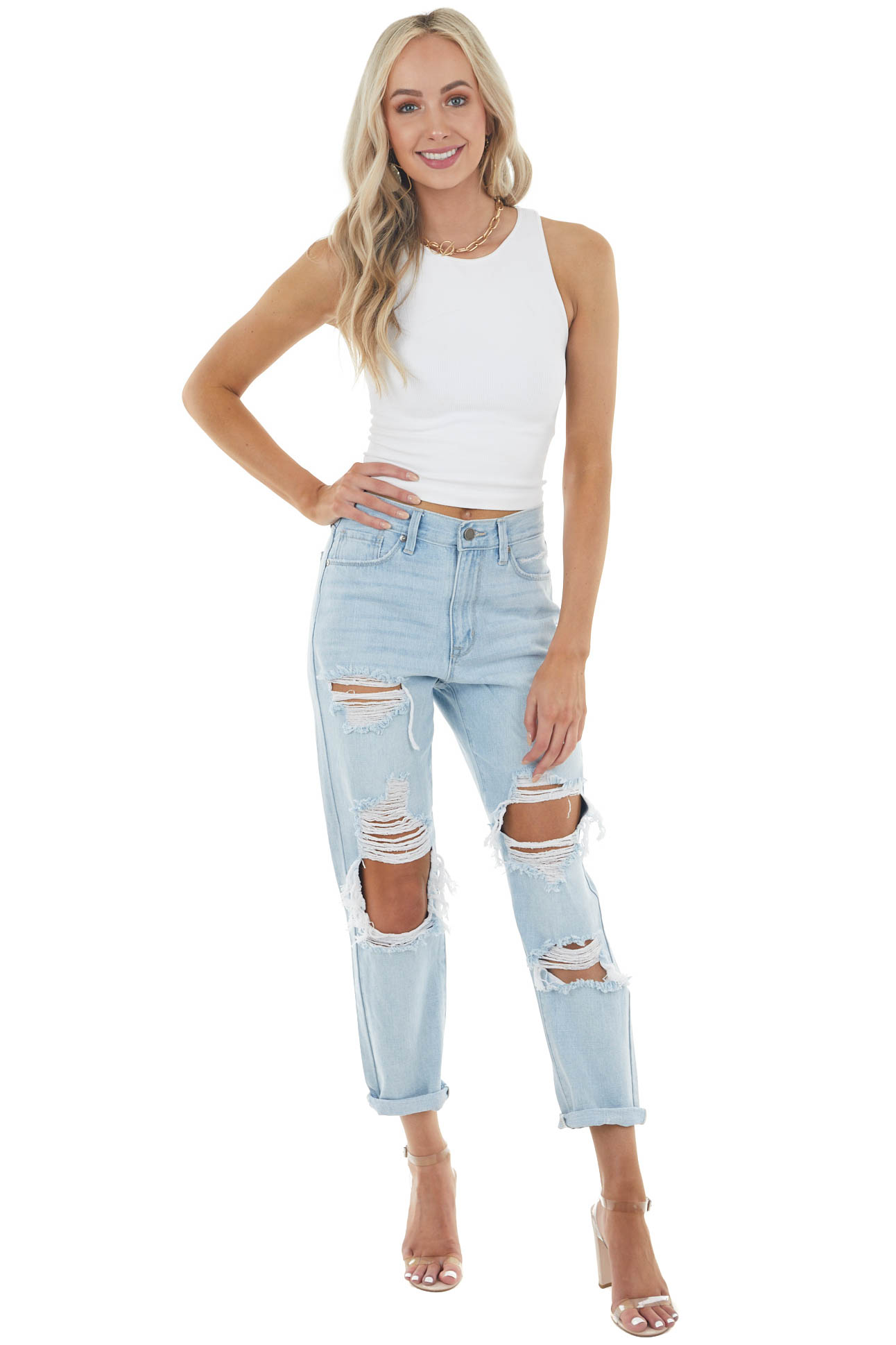 Light Wash High Rise Boyfriend Heavy Distressed Denim Jeans