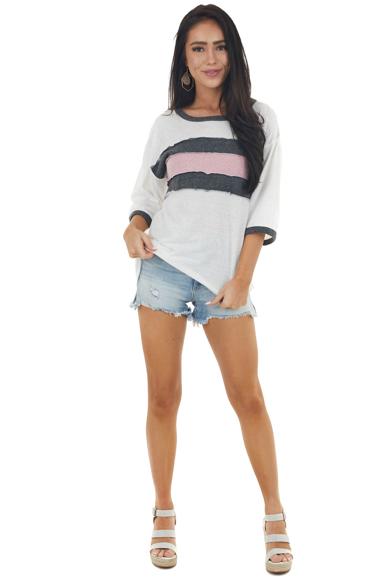 Off White and Charcoal Striped Colorblock Ringer Neck Top