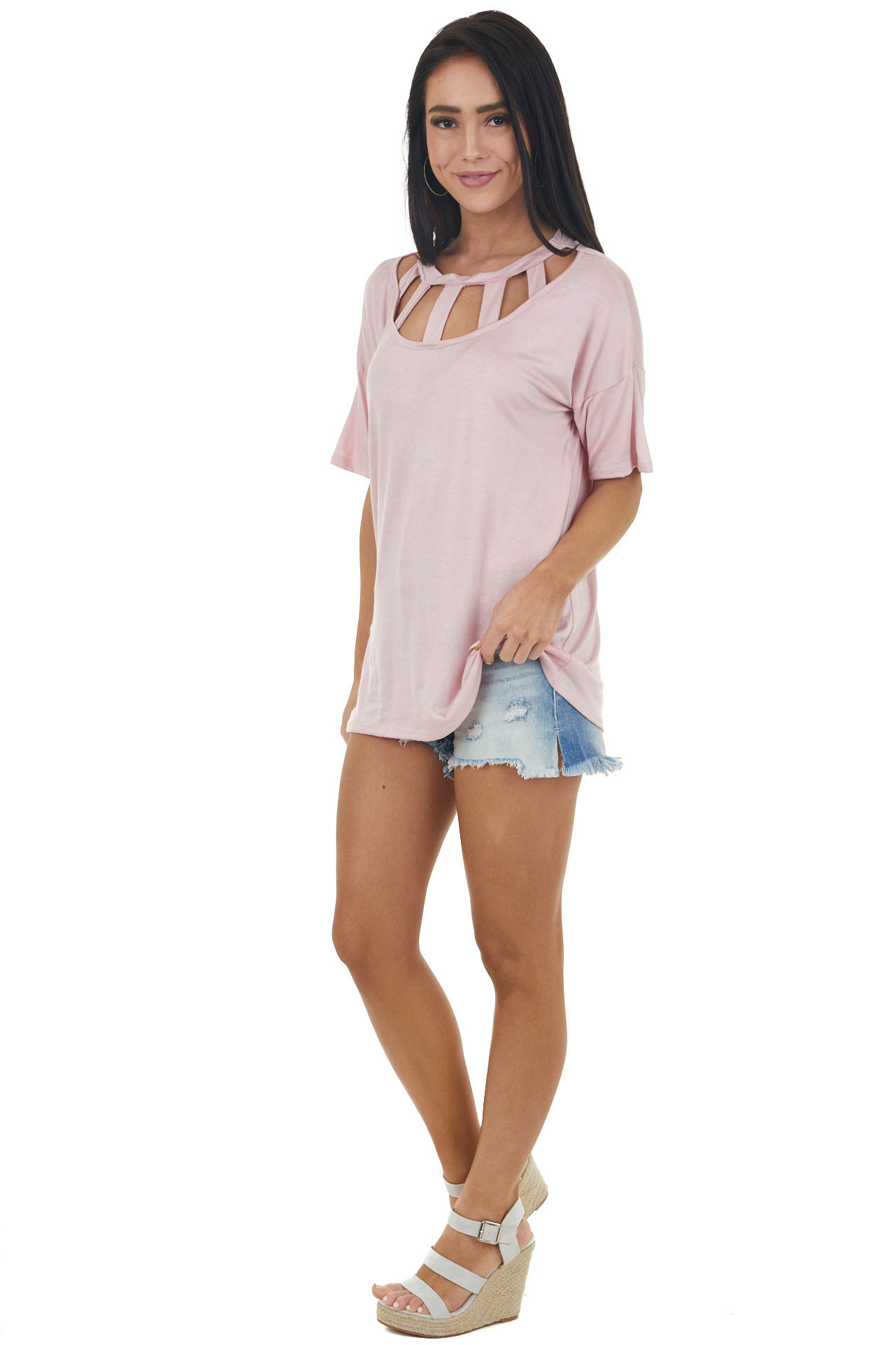 Baby Pink Short Sleeve Knit Top with Caged Neckline
