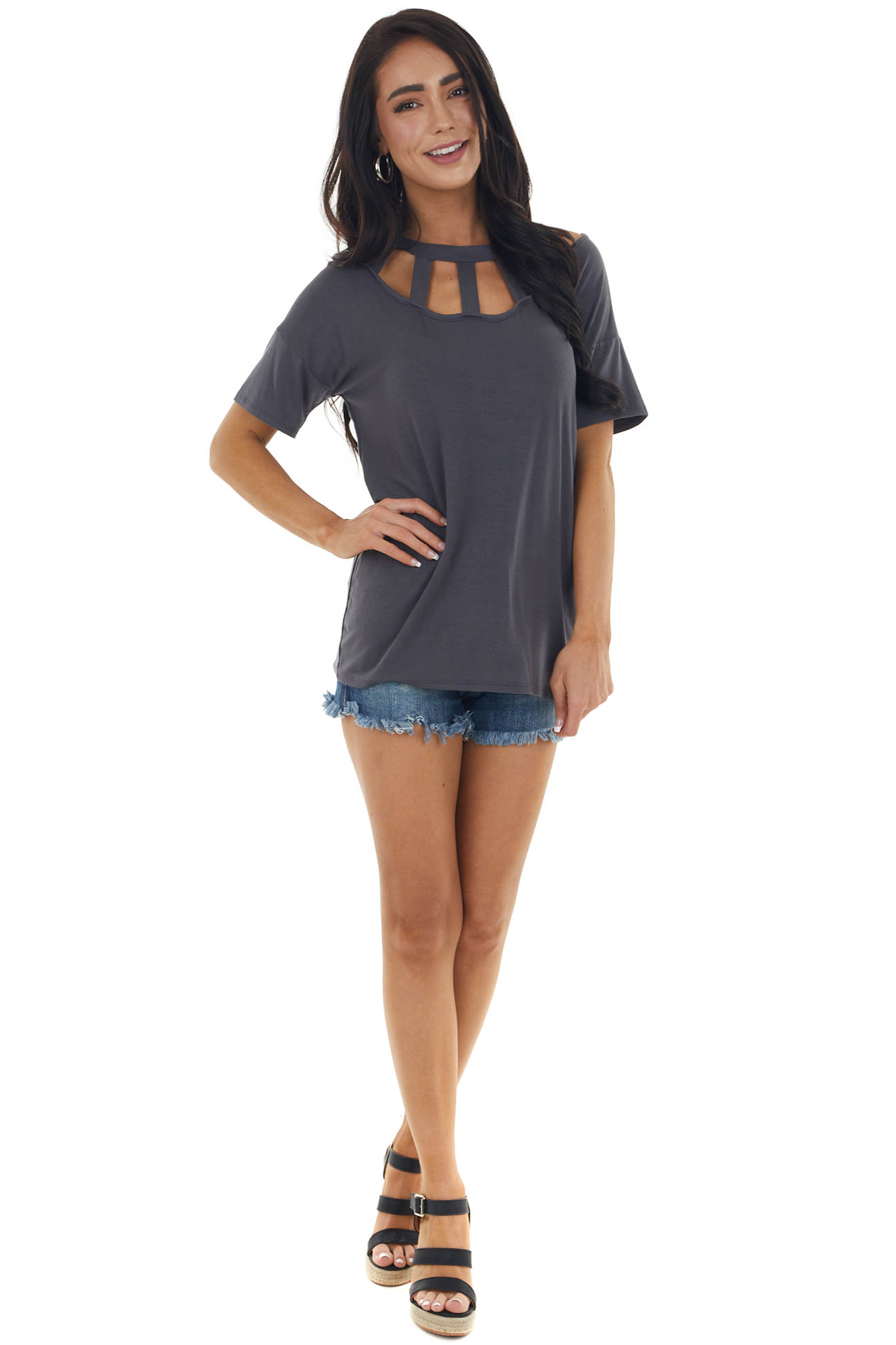 Charcoal Short Sleeve Knit Top with Caged Neckline