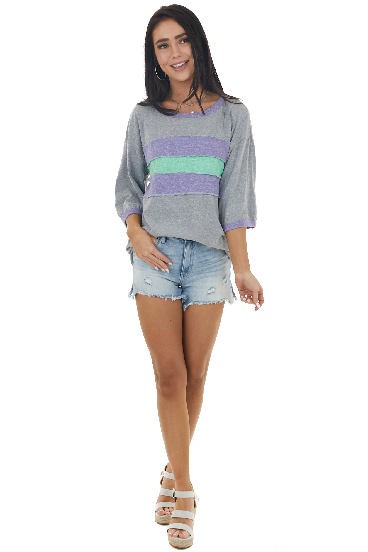 Stone and Vintage Indigo Striped Colorblock Ringer Neck Top