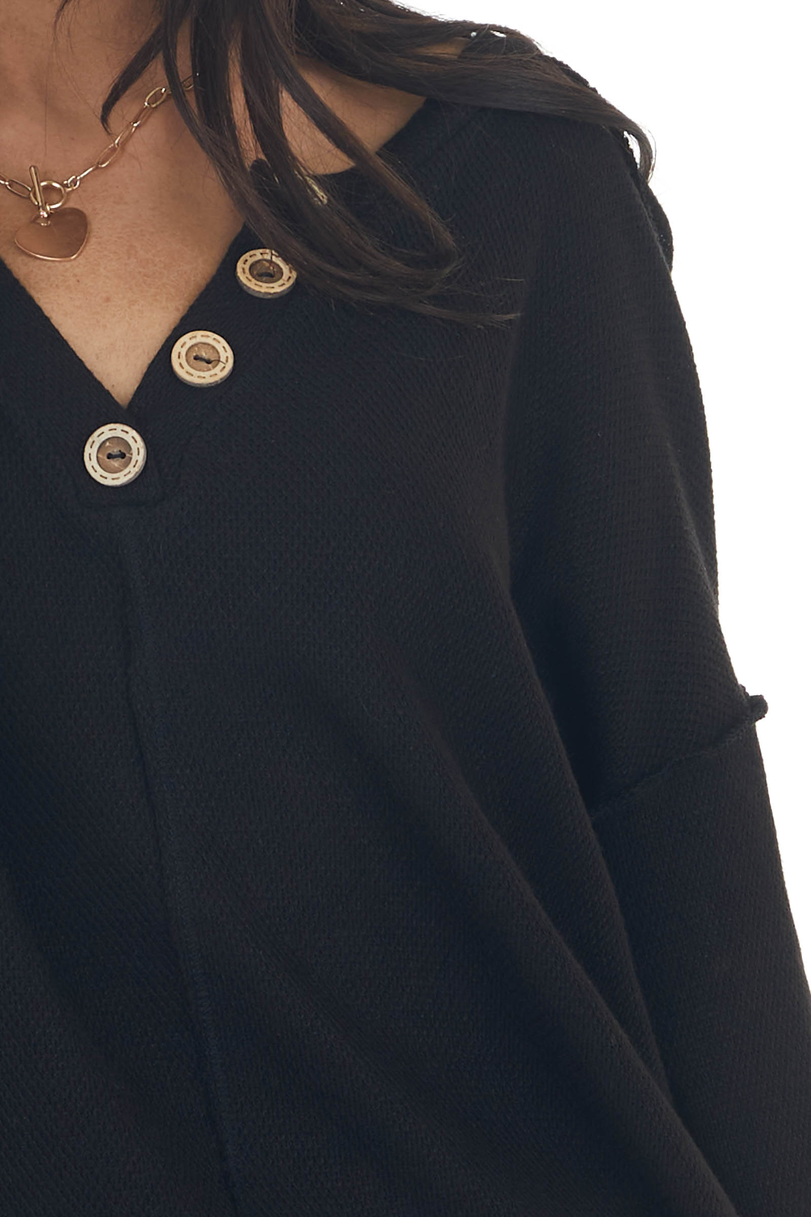 Black Henley Top with Reversed Seam Details