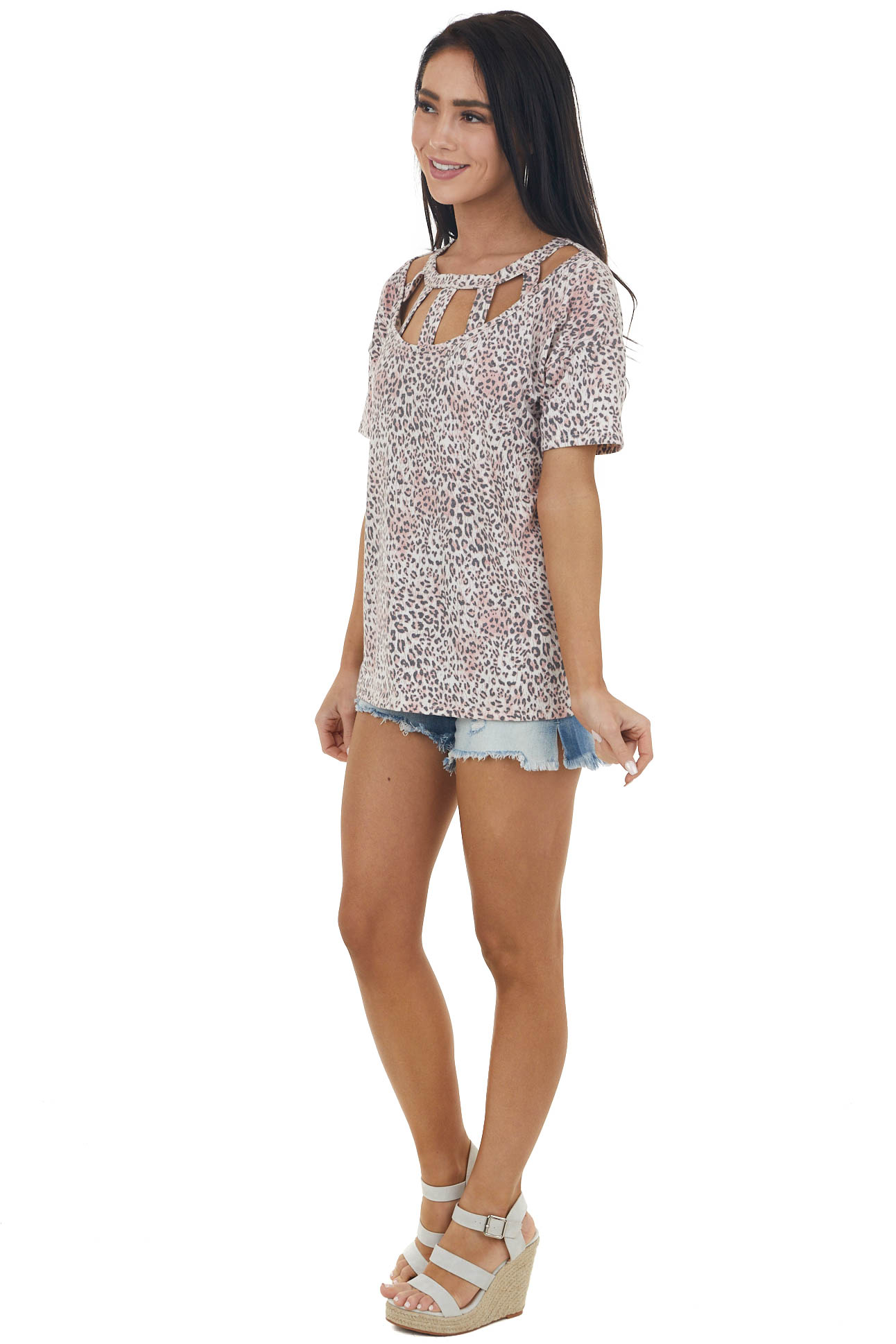 Blush Leopard Short Sleeve Knit Top with Caged Neckline