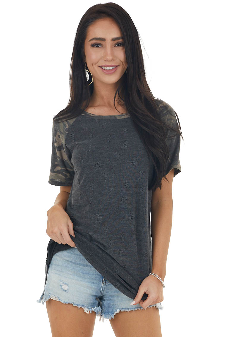 Charcoal Grey Distressed Knit Tee with Camo Print Contrast