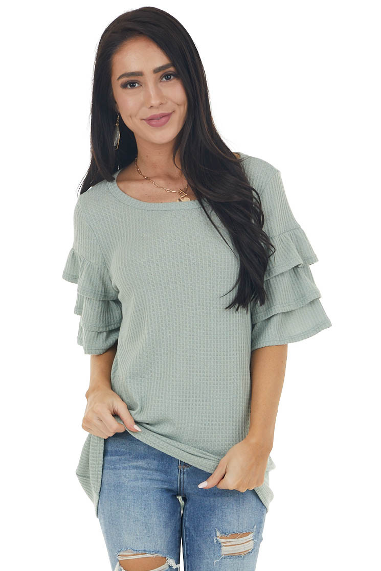 Sage Green Half Sleeve Waffle Knit with Flare Details