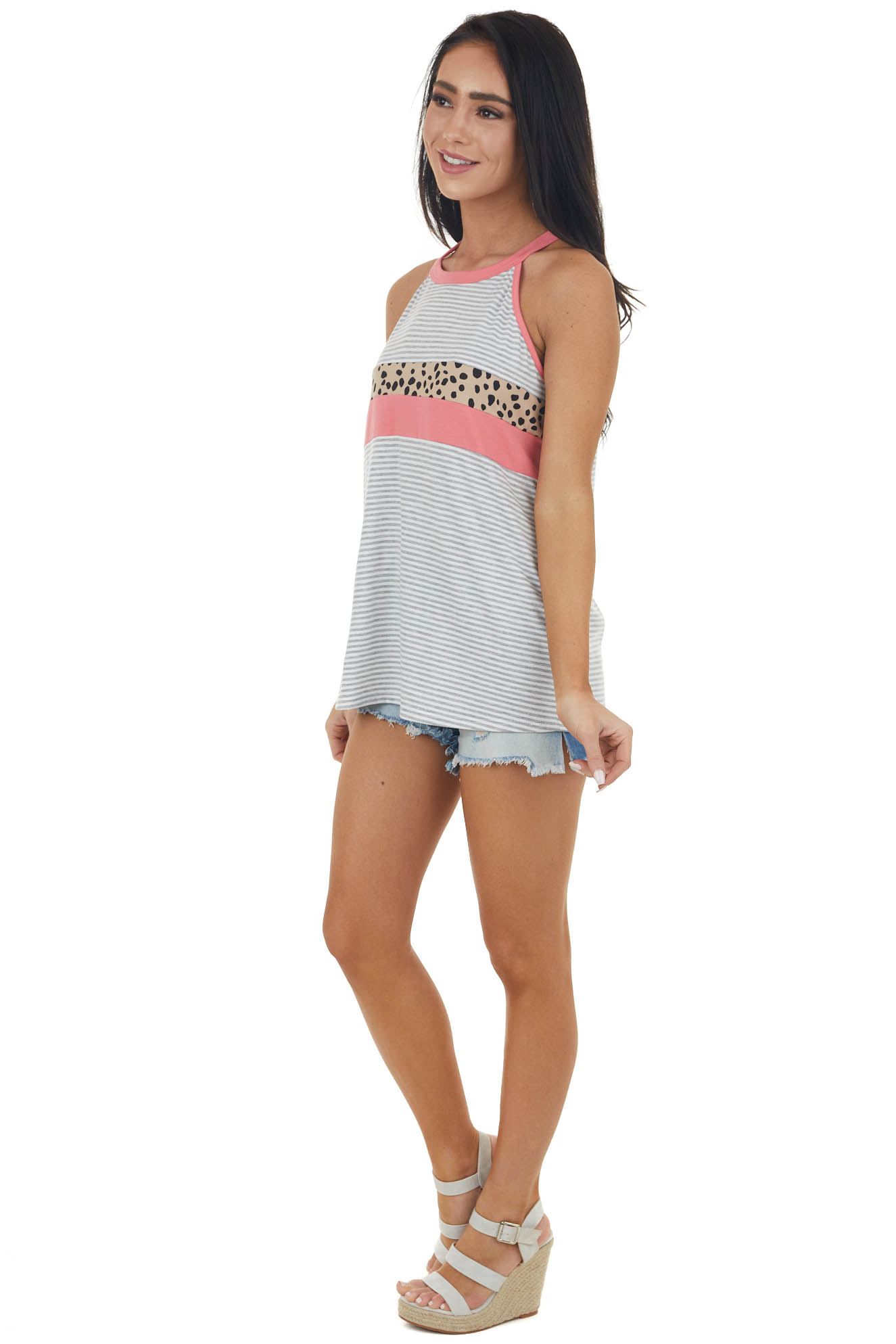Pearl and Steel Striped Halter Top with Cheetah Colorblock