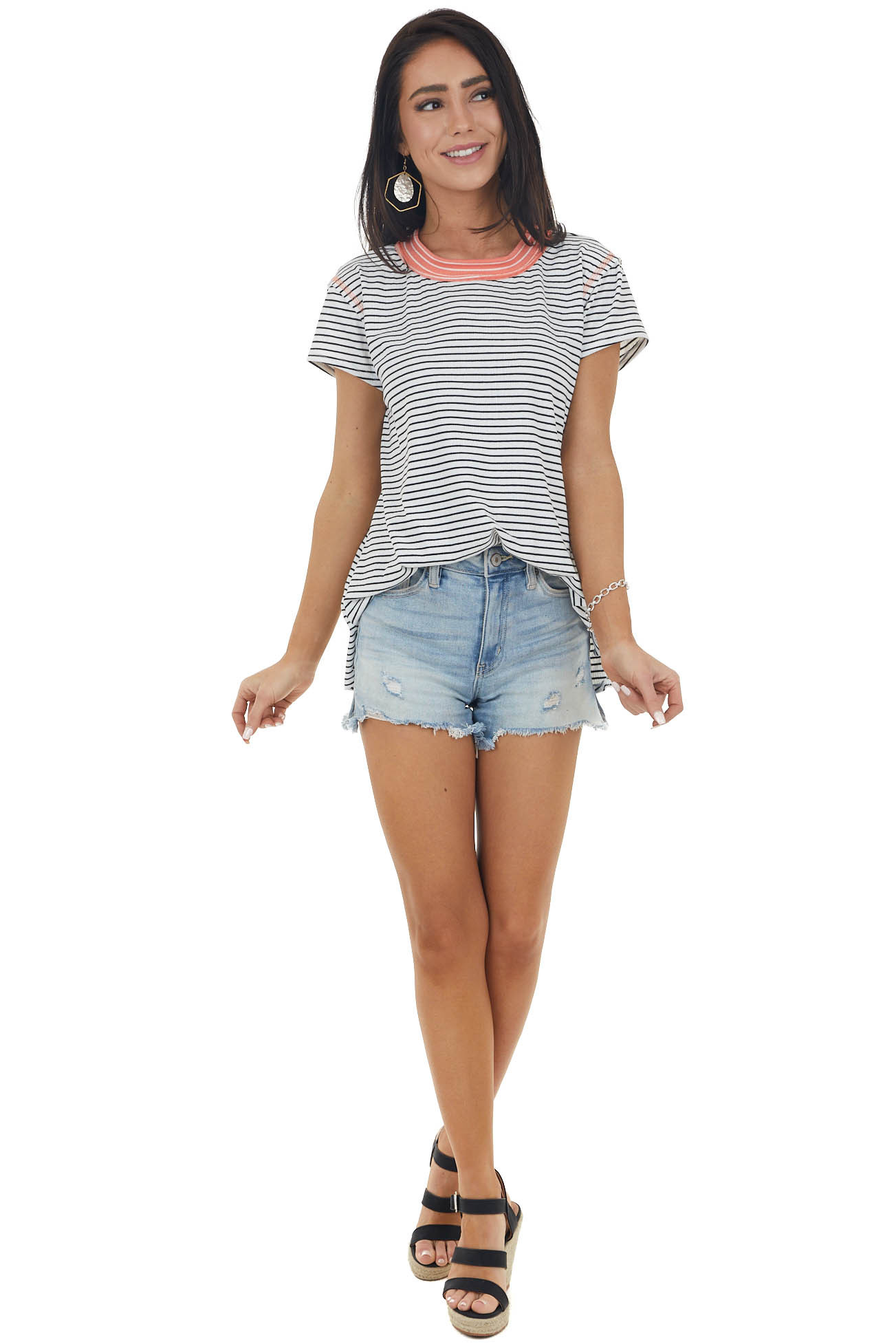 Off White and Black Striped Short Sleeved High Low Top