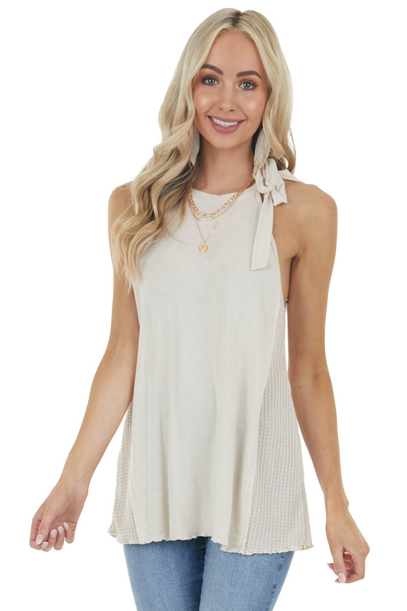 Latte Sleeveless Halter Neck Top with Waffle Knit Contrast