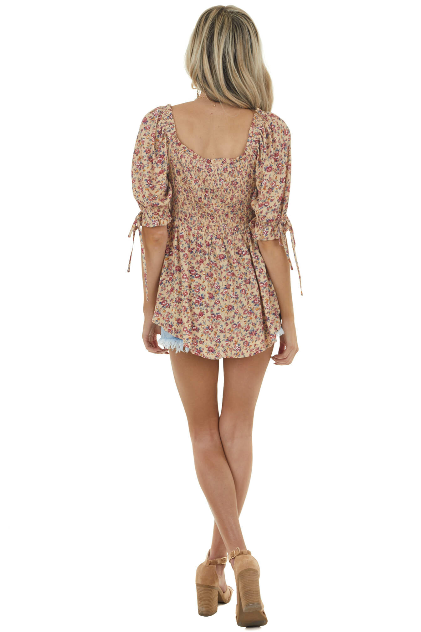 Beige Floral Print Smocked Blouse with Half Puff Sleeves