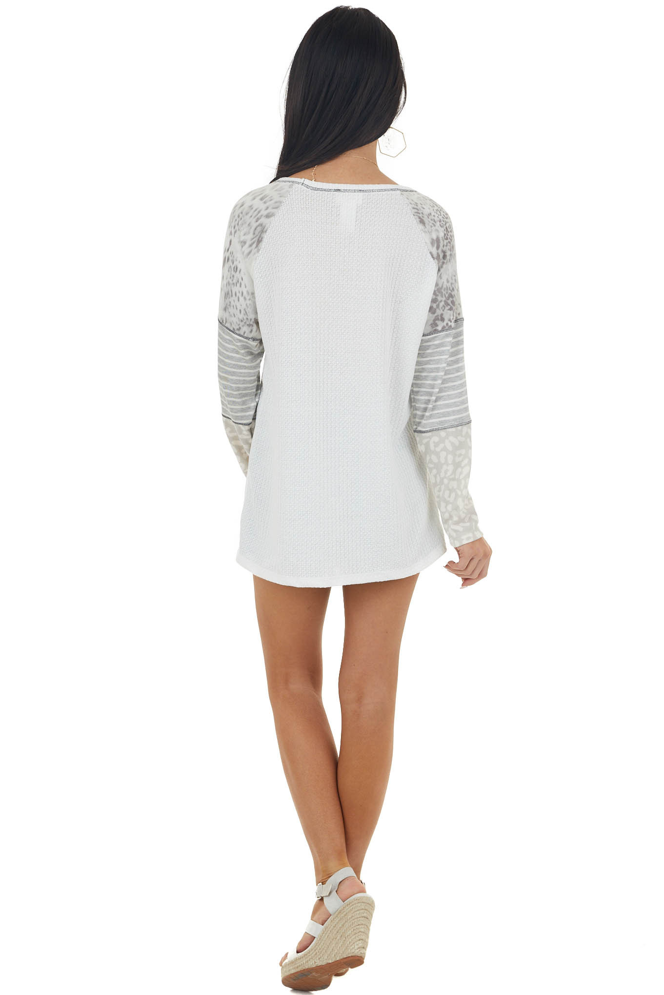 Off White Multiprint Colorblock Long Sleeve Waffle Knit Top