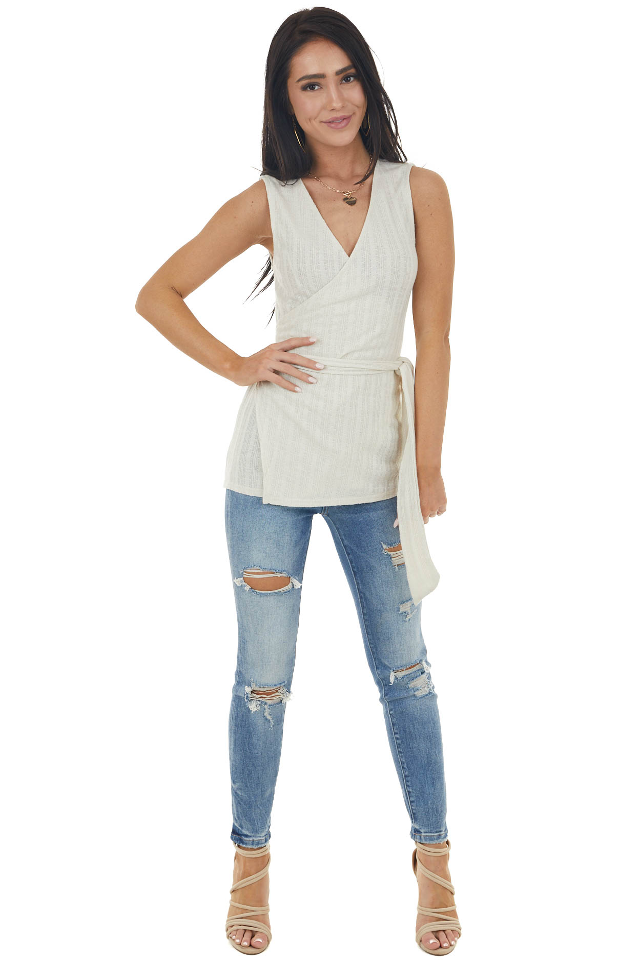 Vanilla Sleeveless Textured Knit Wrap Top with Tie