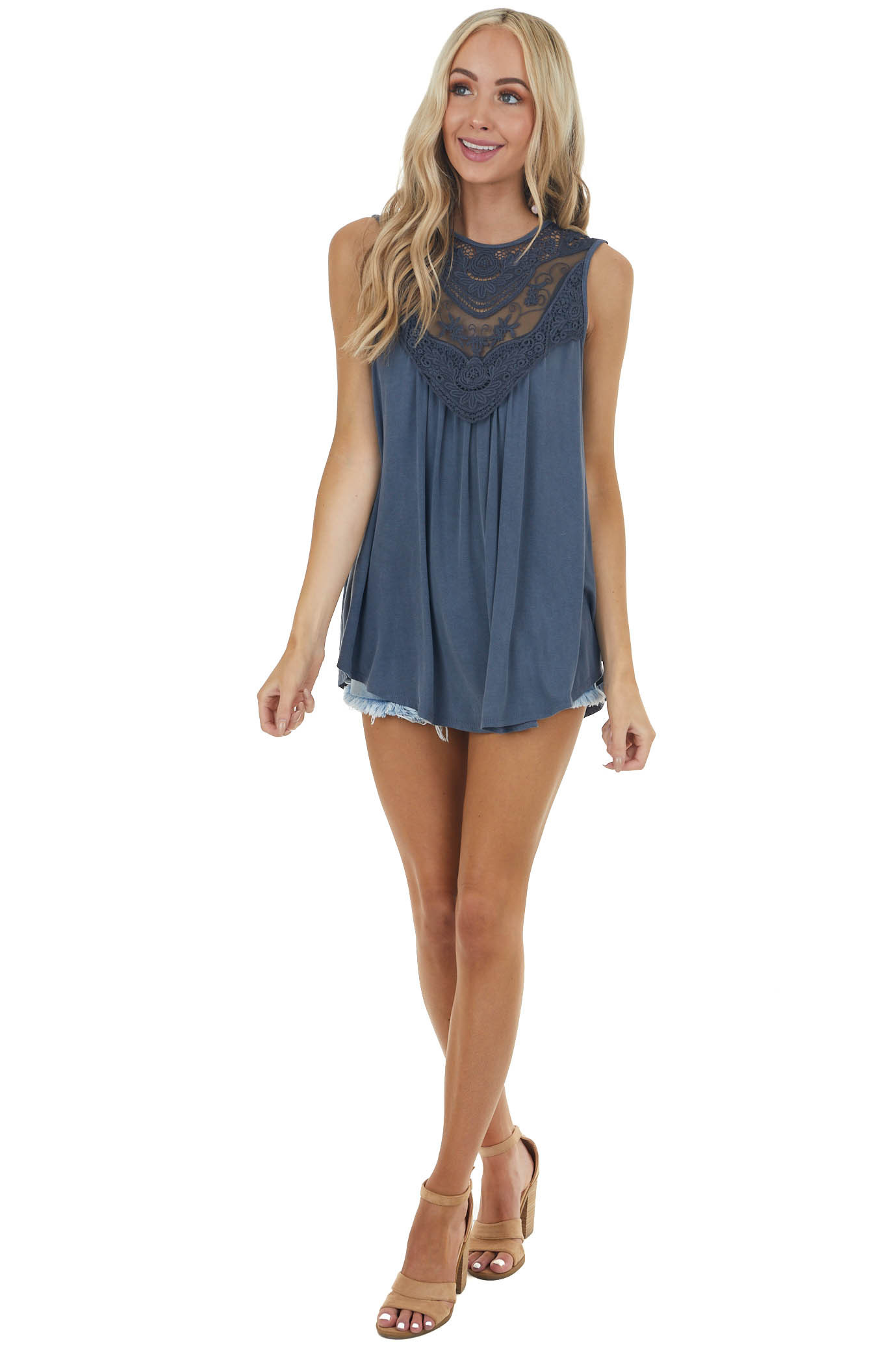 Stormy Blue Flowy Sleeveless Top with Sheer Crochet Details