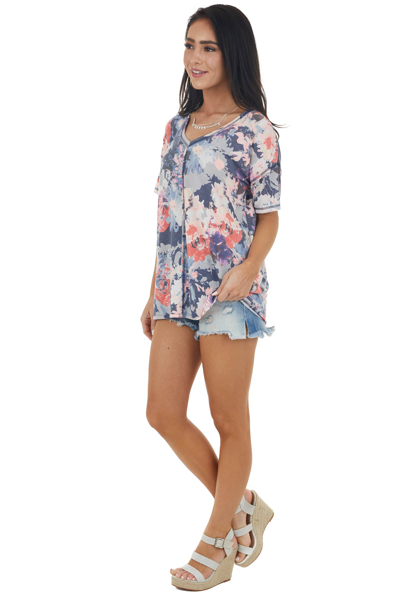 Navy Floral Short Sleeve Knit Top with Stitching Detail