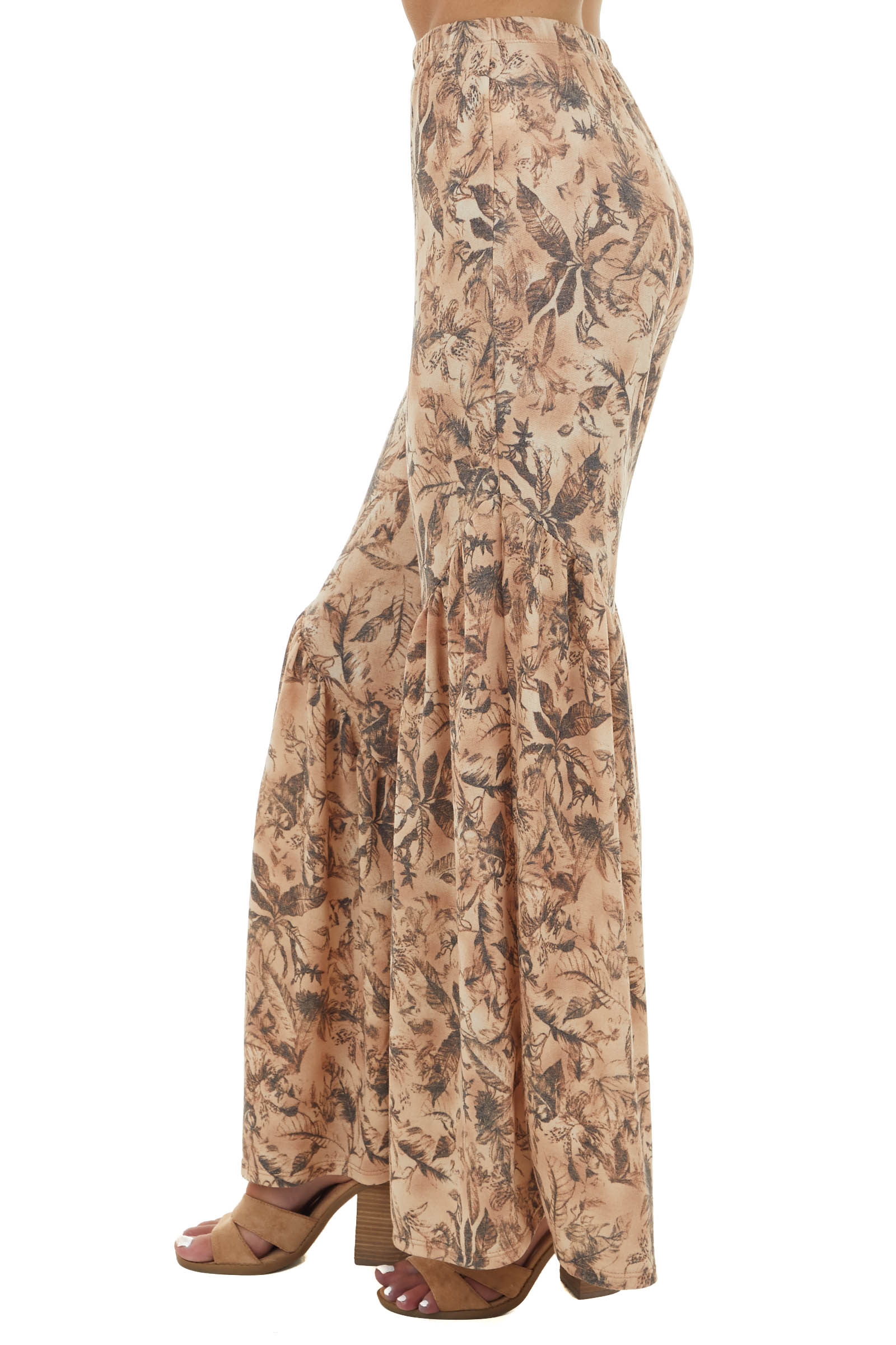 Faded Cognac and Charcoal Floral Stretchy Bell Bottom Pants