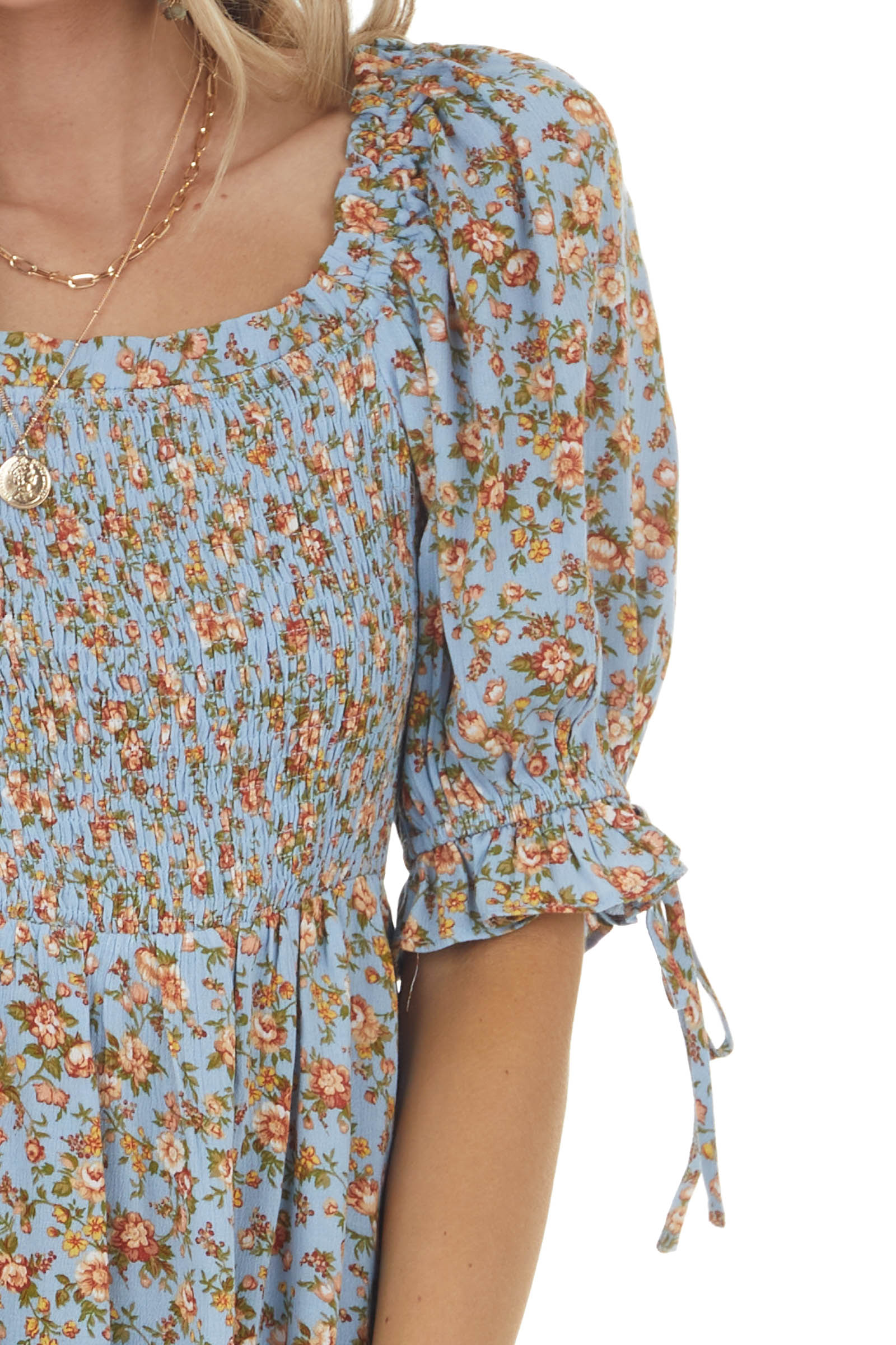 Blue Floral Print Smocked Blouse with Half Puff Sleeves