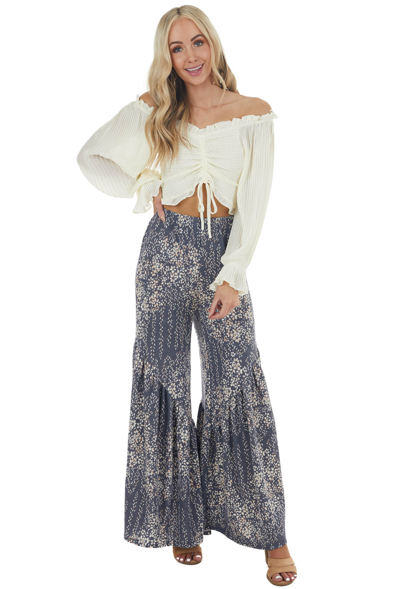 Faded Navy and Ivory Floral Stretchy Bell Bottom Pants