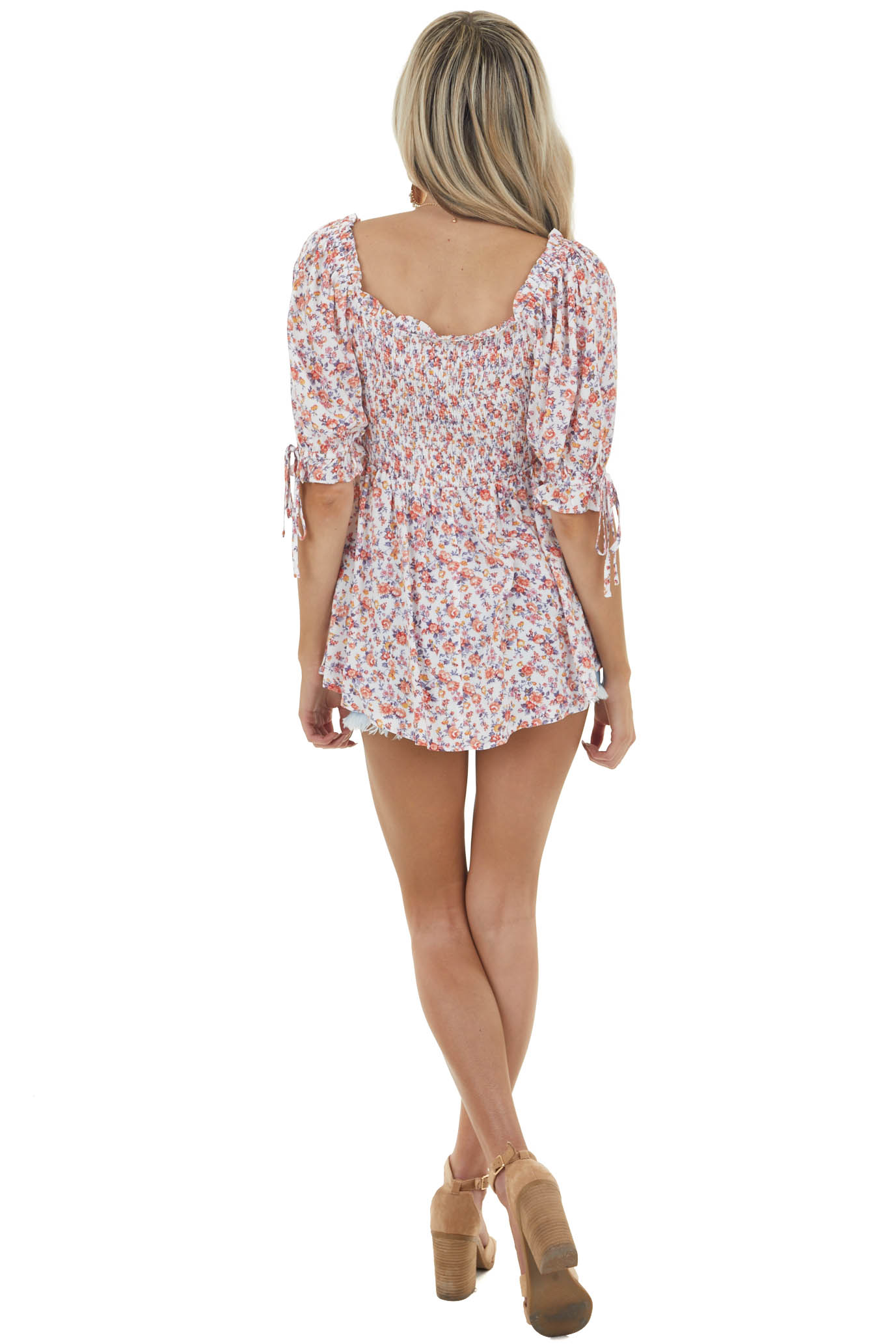 Off White Floral Print Smocked Blouse with Half Puff Sleeves