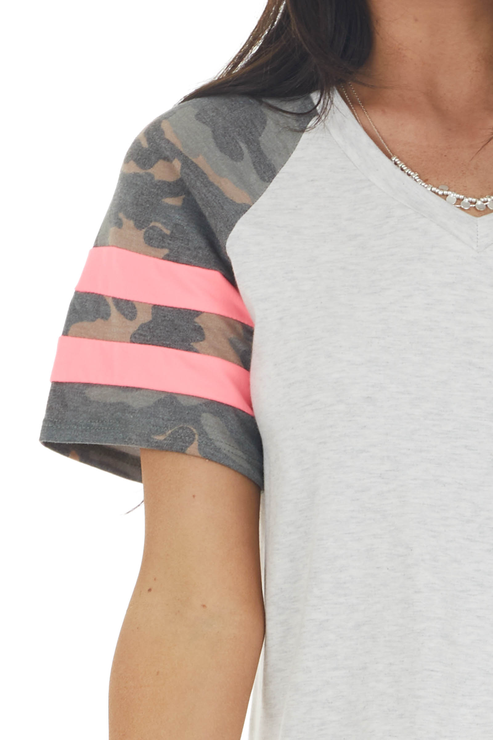 Heather Grey Short Sleeve Top with Camo Print Detail