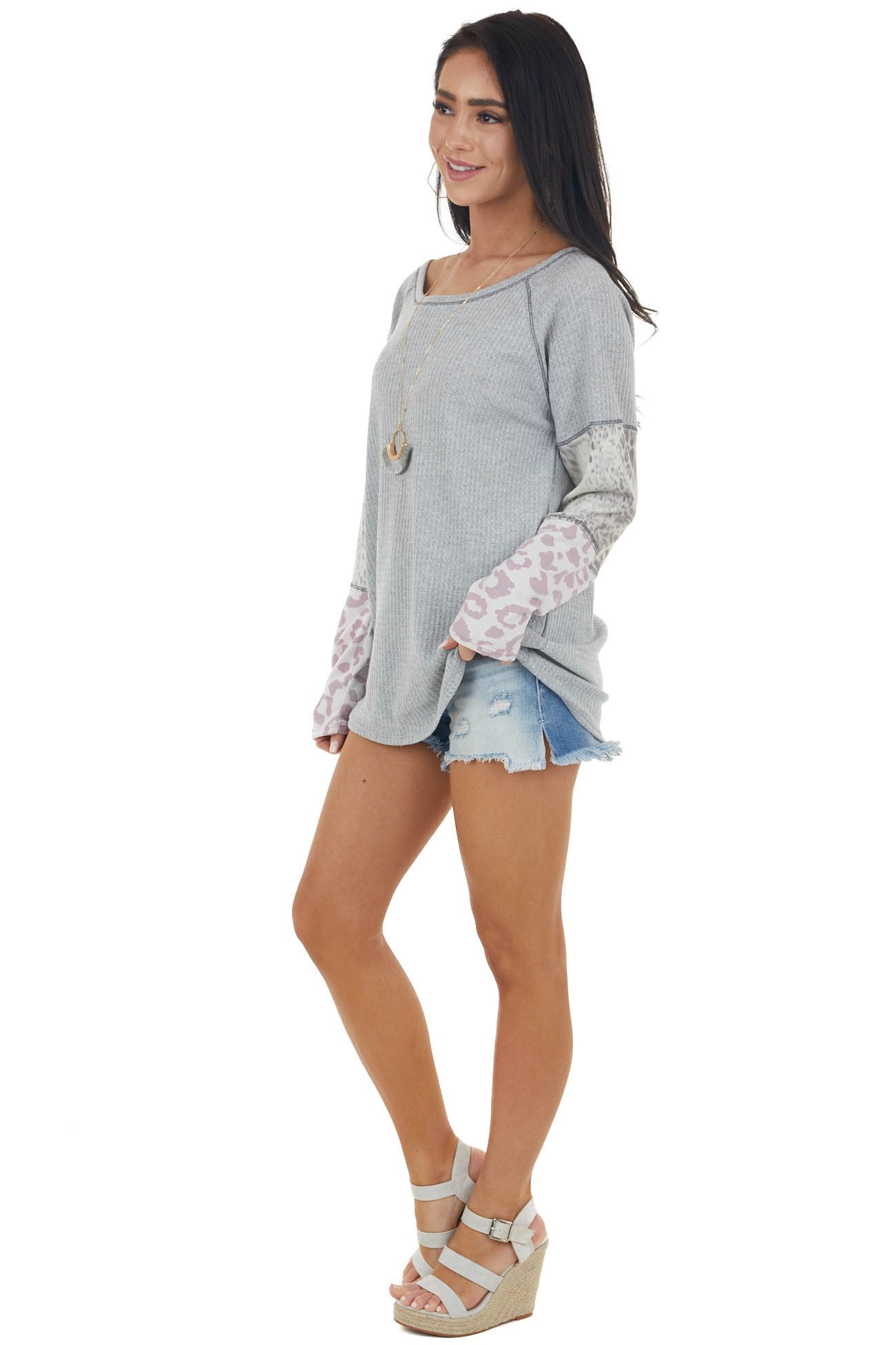 Dove Grey Waffle Knit Top with Leopard Print Colorblock