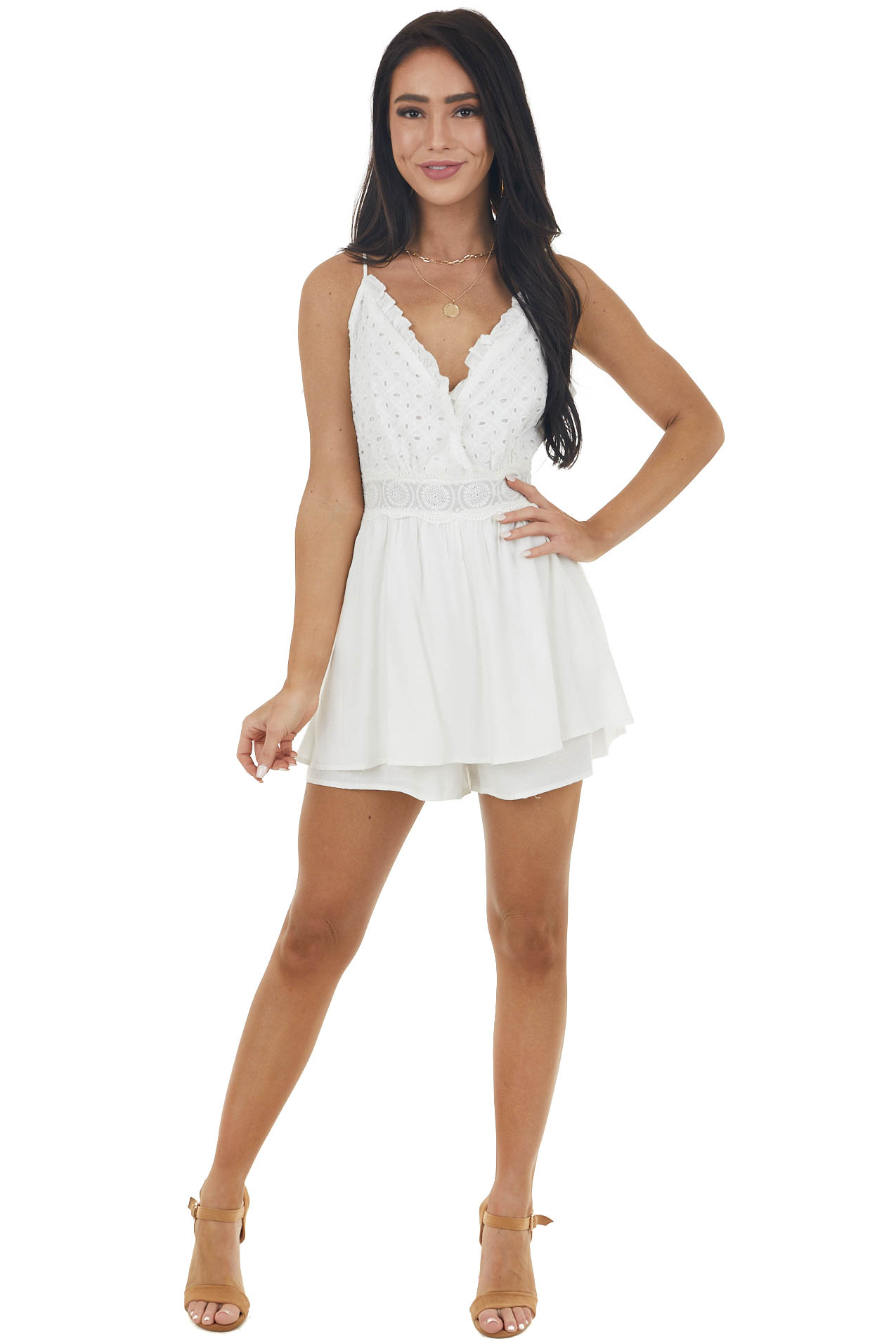 Off White Sleeveless Romper with Eyelet Lace Details