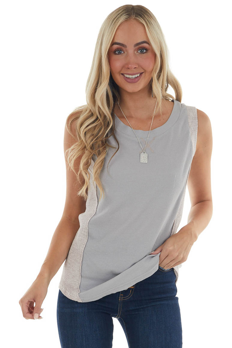 Steel Sleeveless Thermal Knit Top with Side Contrast Detail