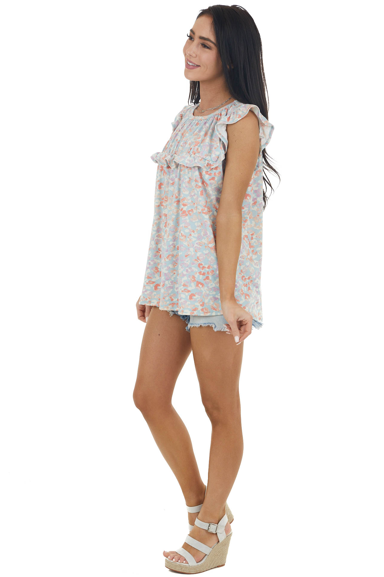 Sky Blue Leopard Print Babydoll Top with Ruffle Details