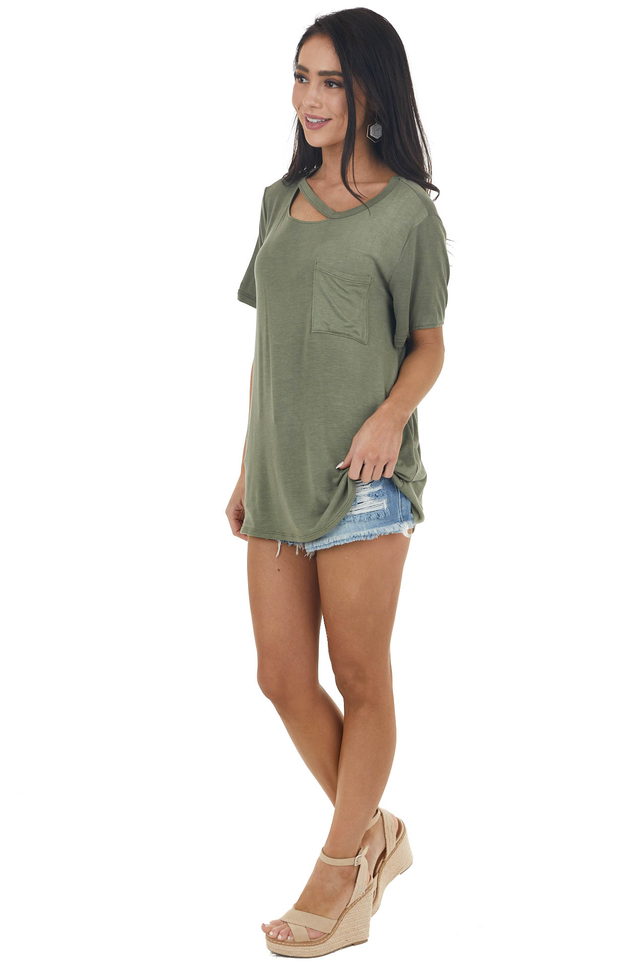 Faded Olive Short Sleeve Cut Out Knit Tee with Chest Pocket